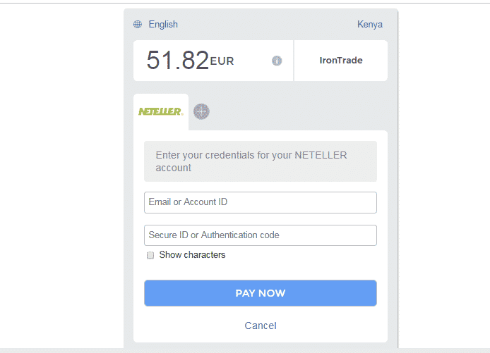 How to fund Iron Trade with Neteller
