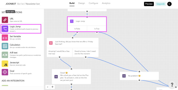 Logic jump is easy to use with Joonbot compared to botstar alternative