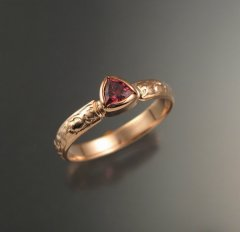 Stone Fever Jewelry Pink Tourmaline trillion cut Victorian Engagement ring 14k Rose gold bezel set pink gold wedding ring, $425