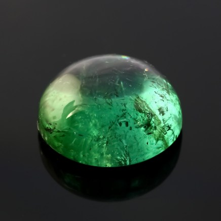 Joopy Gems blue-green tourmaline cabochon, 14.070 carats, 15.1mm