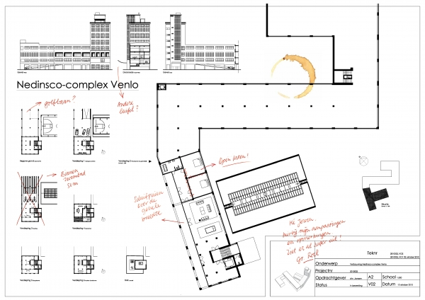 Bouwtekening van het Nedinsco-complex voor wild woonplan
