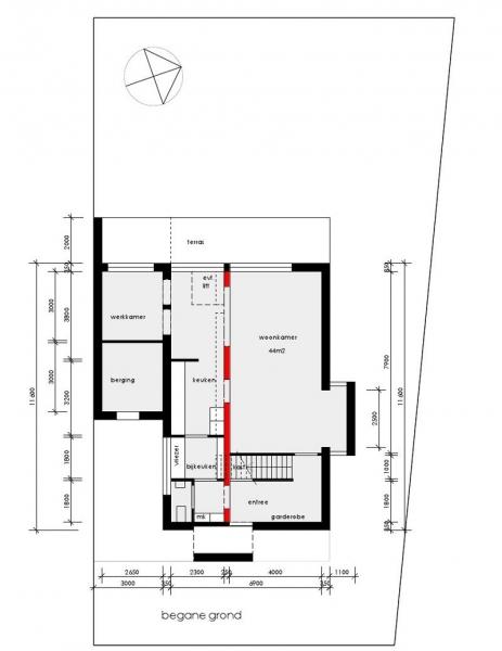 Plattegrond van ontwerp nieuwbouw woning