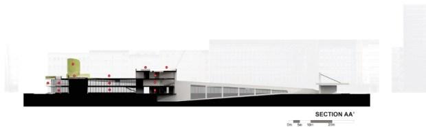Visualisatie behorende bij het plan #2; Duidelijk te zien is het geleidelijke oplopen zodat er een dak-landschap ontstaat.