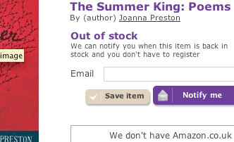 Book Depository notify button