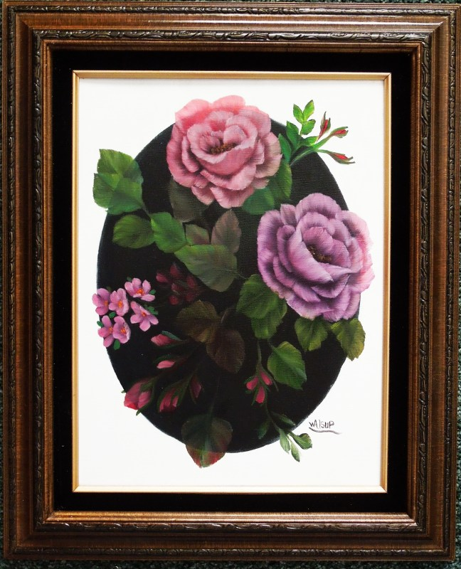 Roses on black oval (2012) Sold Jack Alsup