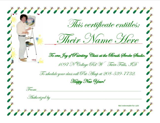 Gift Certificate January