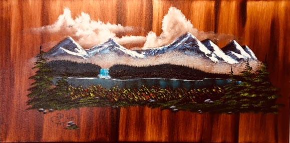 Mountain Scene on Wood Grain