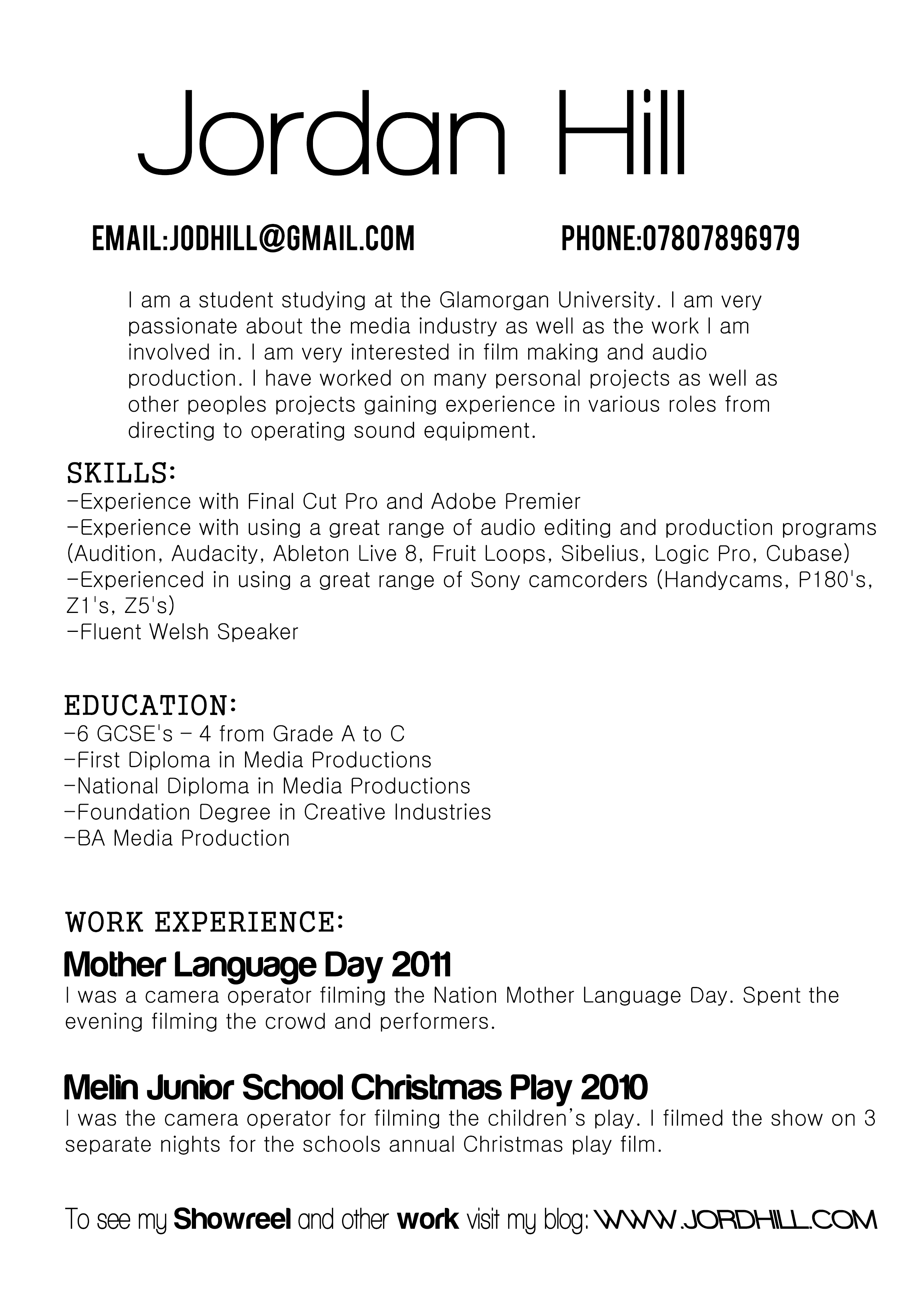 CV THE WORK OF JORDAN HILL