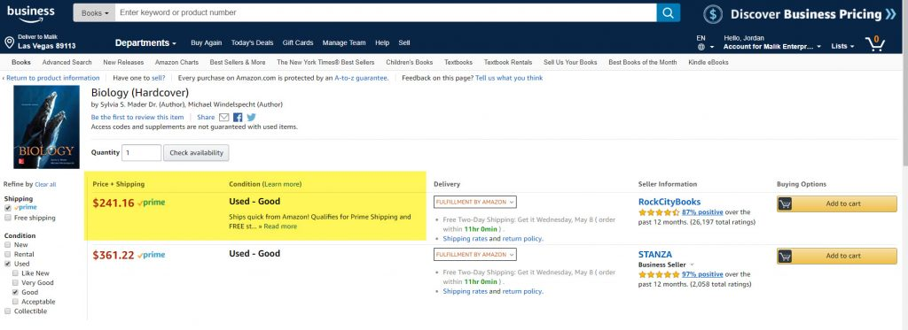 FBA Seller price of texbook example