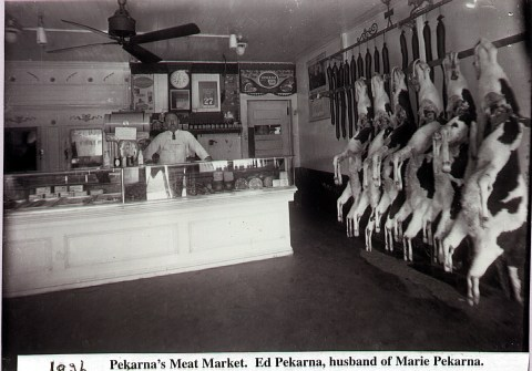 Ed Pekarnas Meat Market still family owned today and famous for its ring bologna! Located on Water Street in downtown Jordan