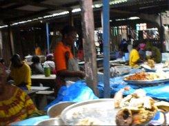 3.- The Sorbonne market – women run the food stalls.