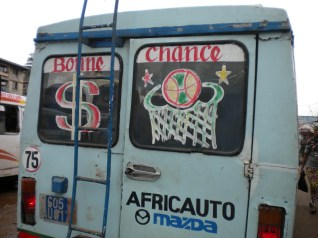 6.- The decoration on this bus merges US and specifically black American symbols – common in Abidjan.