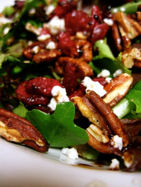 candied pecans, feta cheese, cranberries, and a balsamic reduction = yummy times