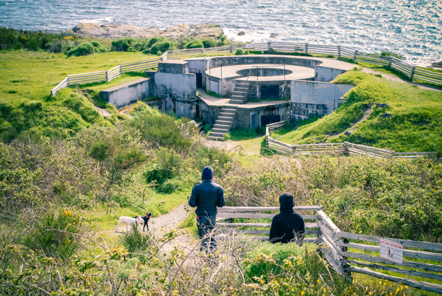 Walking towards one of the Fort Macaulay Gun Emplacements
