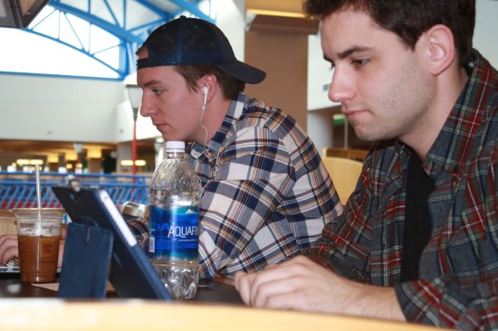 Sophomore Nick Lalonde, left, and senior Josh Roth, right, study for midterms together at Park Library on Thursday, Feb. 23.