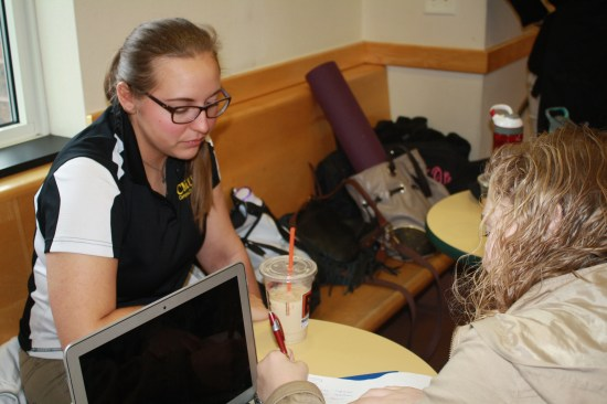 Senior Amanda Piccin, left, and freshman Casey Estes, right, enjoy break time at Java City on Thursday, Feb. 23.