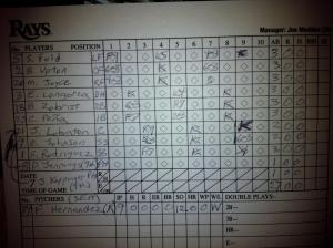 The scorecard for the Tampa Bay Rays in that game: 27 batters, 27 out