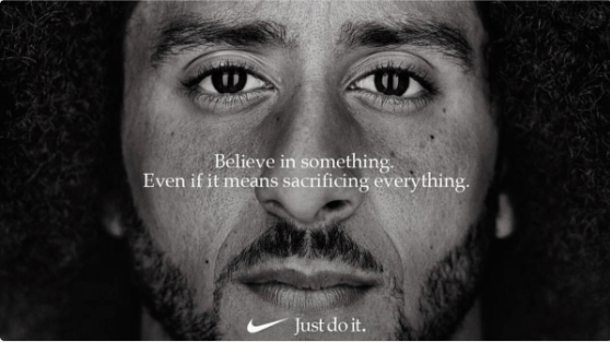 The first image of the ad campaign. Transcription: Believe in something. Even if it means sacrificing everything.