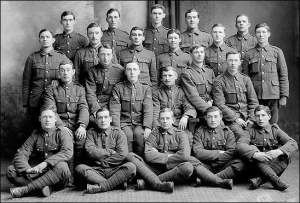 Twenty-two soldiers of the First Newfoundland Regiment in dress uniforms, long before the Battle of the Somme