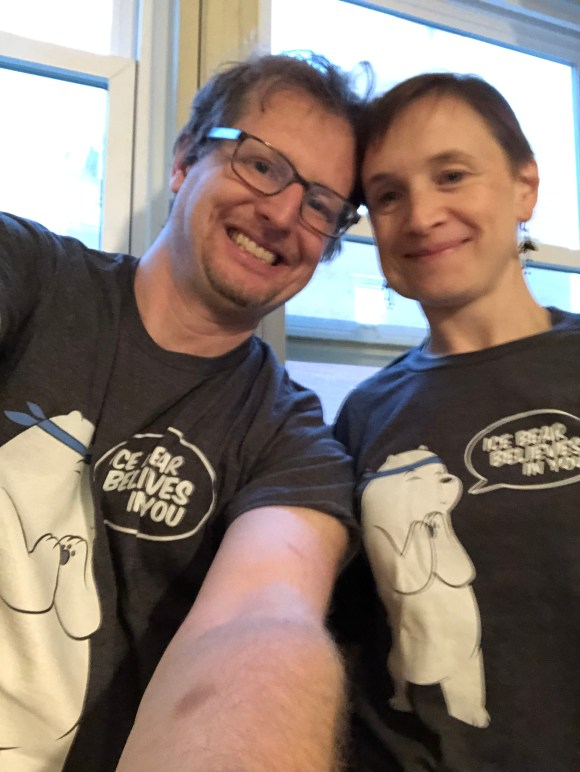 "My wife and I wearing matching ""Ice Bear Believes in You"" t-shirts"