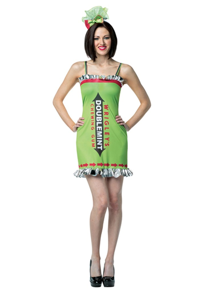 "A woman in a skintight green dress labeled ""Wrigley's Doublemint Chewing Gum"""