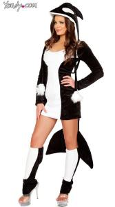 Black-and-white costume with a tail hanging from the back and a hoodie that looks like a killer whale head