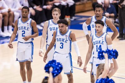 Five Duke basketball players take the court