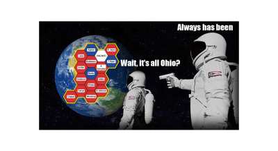 An American astronaut realizes that Earth is all the Ohio House map before an Ohio astronaut shoots him