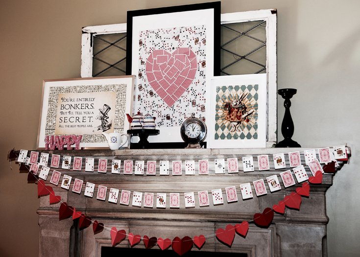 Why Host a Party at Home? | Halfpint Design - This Alice in Wonderland Mantel decor plays double duty for Valentine's. Choose a theme that you can build off what you will ALREADY have it your home. It'll save you time and money.