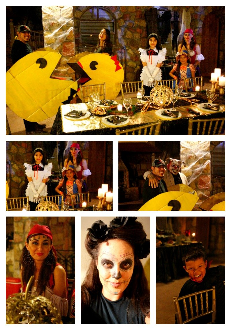Halloween costumes at a black and gold Halloween dinner party #blackandgoldhalloween