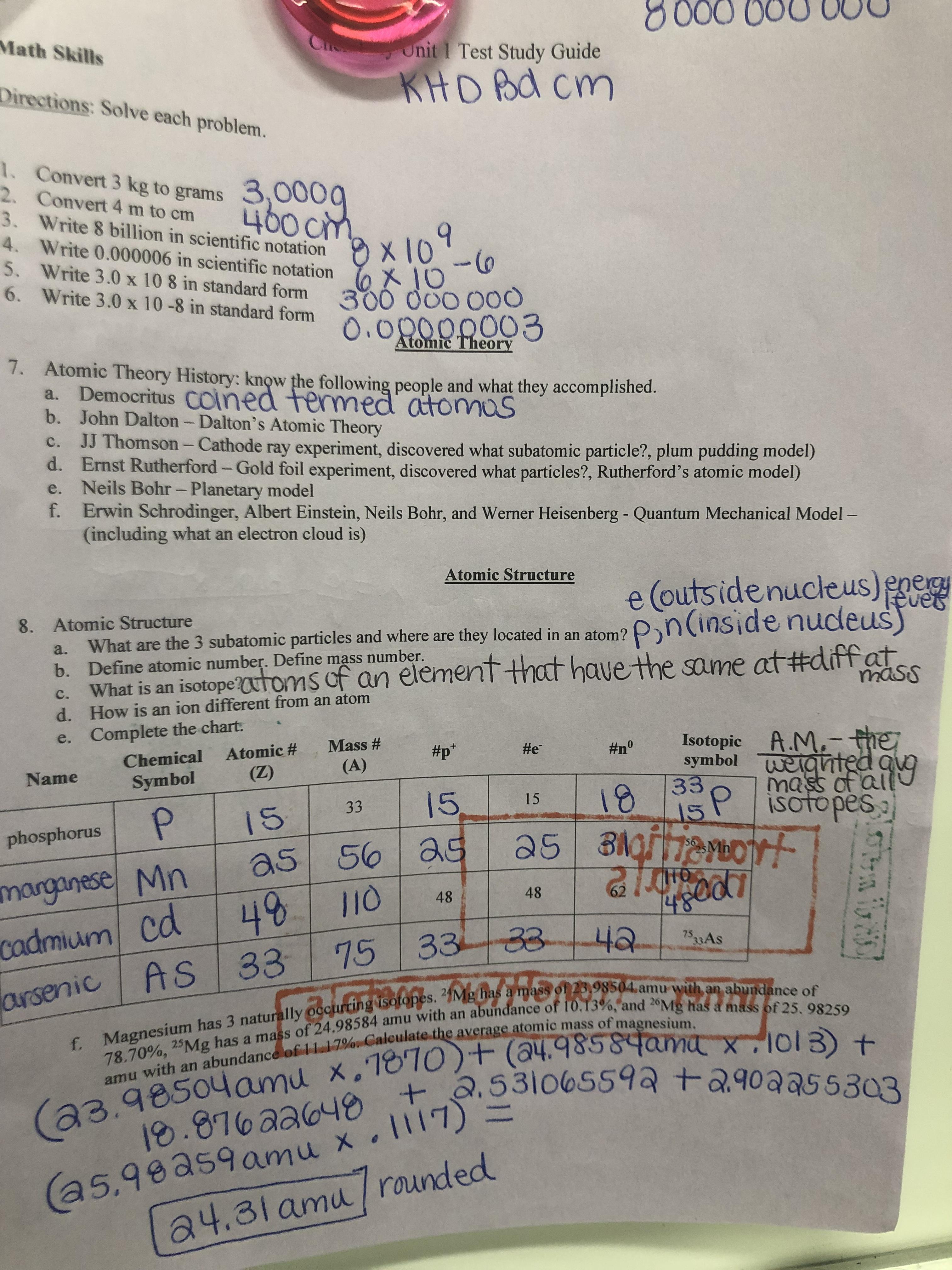 Chemistry Unit 1 Atomic Structure 1 9 1 31 20 Jordans