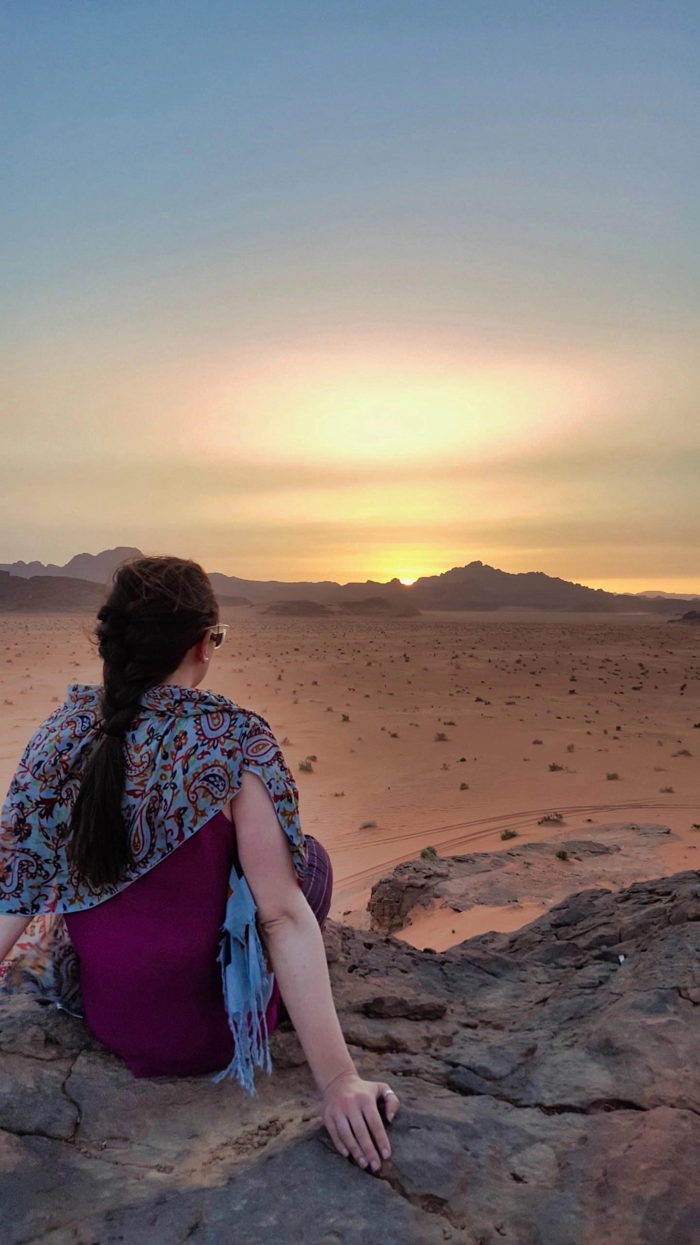 10 Days in Jordan - Valerie at Sunset in Wadi Rum