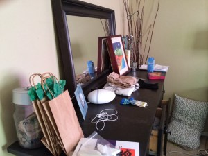 cluttered bedroom dresser