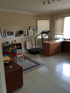 multi purpose space includes play area, workout space and office