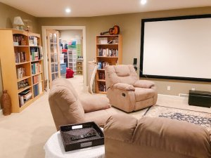 The fully organized basement is ready for the whole family to enjoy