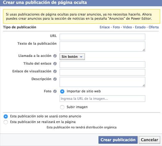 crear publicaciones ocultas facebook
