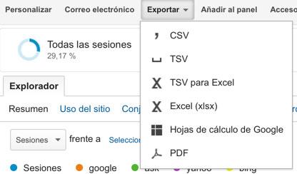 exportar informacion google analytics