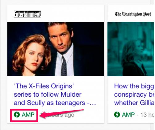 version amp en los resultados de google