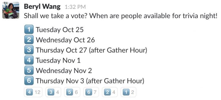 respuestas con emoji slack