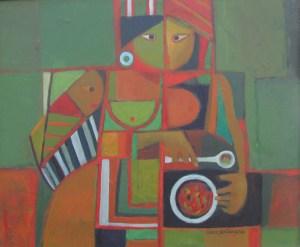 Mujer con plato y niño