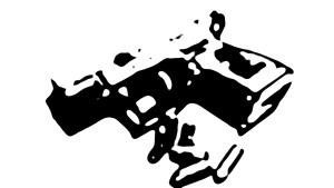 Ilustración de pistola con balas en blanco y negro