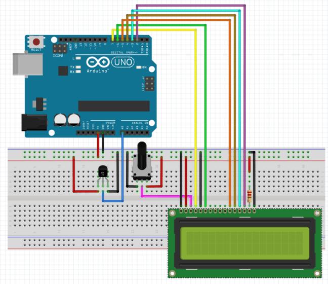 Esquema termómetro arduino LM35