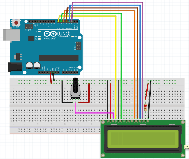 montaje display LCD 1602 Arduino