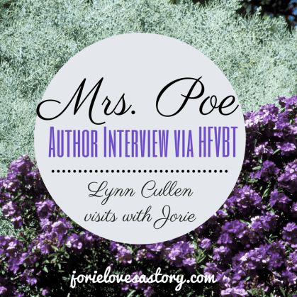 Author Interview with Lynn Cullen badge created by Jorie in Canva
