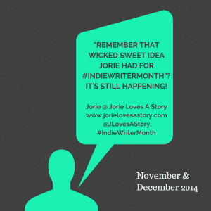 #IndieWriterMonth Take 2 (December) badge created by Jorie in Canva