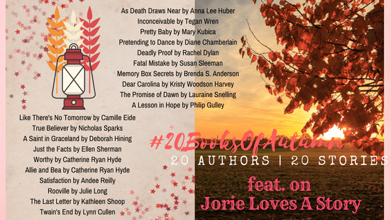 #20BooksOfAutumn banner made by Jorie in Canva.