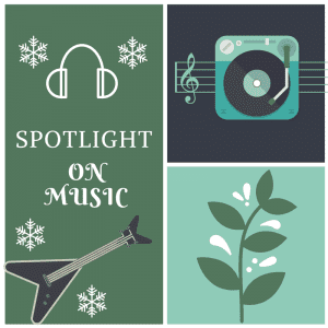 Spotlight on Music banner made by Jorie in Canva.