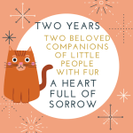 Two years, Two cats badge created by Jorie in Canva.