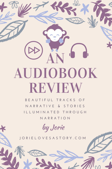 Audiobook Review Badge made by Jorie in Canva.