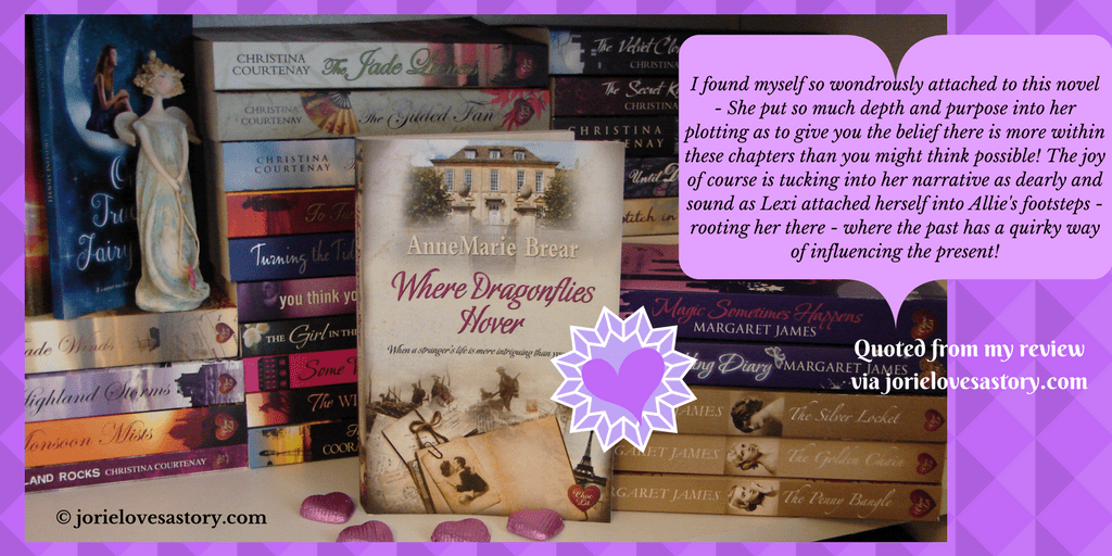 Where Dragonflies Hover and Jorie's ChocLit bookshelf. Book Photography Credit: Jorie of jorielovesastory.com. Photo edits and collage created in Canva.